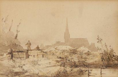 Attribué à Théodore GUDIN (1802-1880) Falaises en bord de mer Scène animée au village...