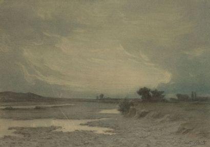 Lucien VÉRITÉ Paysage Pastel. 35x47cm