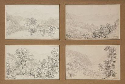 Ensemble de 11 dessins et 5 gravures de vues montagne sous 11 cadres: Vue de Suisse,...