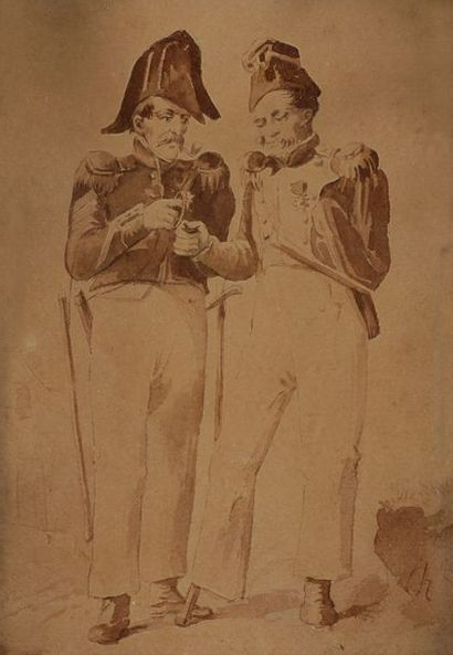 École française du XIXe siècle Deux personnages...