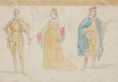 École FRANÇAISE ROMANTIQUE vers 1830 Ensemble de 5 dessins de costumes de théâtre...
