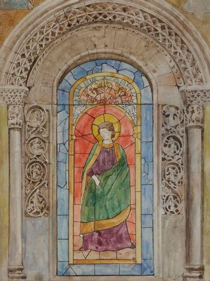 Alexandre LUNOIS (1863-1916) Projet de vitrail...