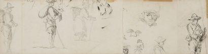Charles-Frédéric SOEHNNÉE (1789-1878) Études de personnages et mendiants Crayon...
