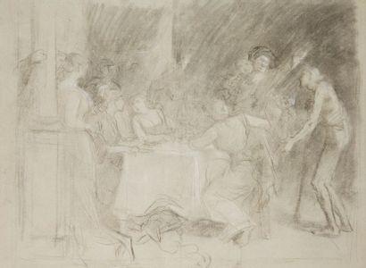 École FRANÇAISE du XIXe siècle Scène de banquet...