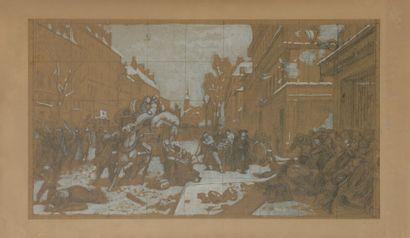 École FRANÇAISE du XIXe siècle Scène de combats...