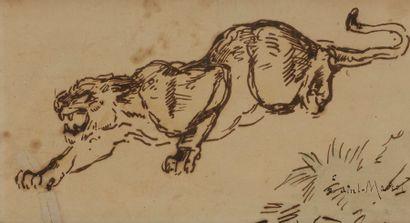 Edme SAINT-MARCEL (1819-1890) Tigre rugissant...