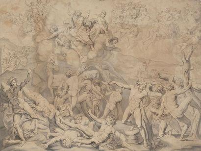 École flamande vers 1700 La chute des géants...