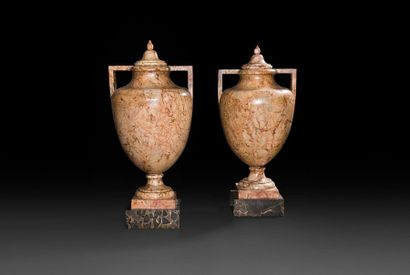 Paire de vases couverts en marbre de Trets...