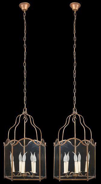 Paire de lanternes de bronze doré de forme...