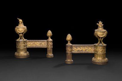 Paire de chenets en bronze doré, à décor...