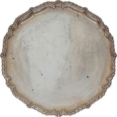 Plateau de forme circulaire mouluré de côtes...