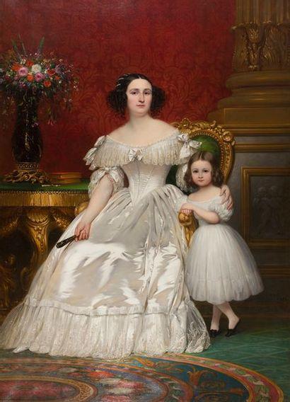 Joseph Désiré COURT (Rouen 1797 - Paris 1865) Portrait de Madame de Villeneuve Bargemon...
