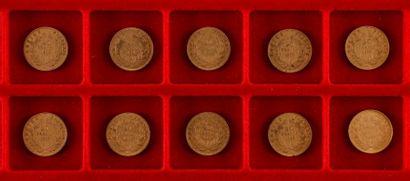 10 pièces de 20 Francs en or. Type Napoléon...