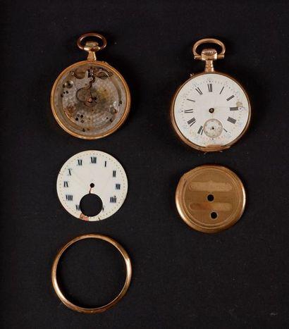 Lot de deux montres à gousset en or (accidentées)....