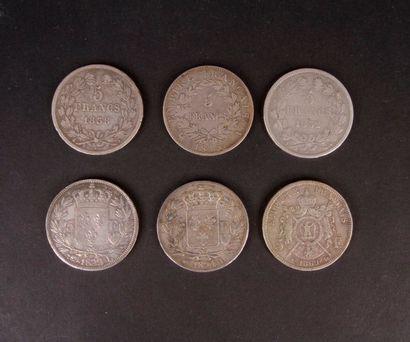 5 pièces de 5 Francs en argent (900/1000)...