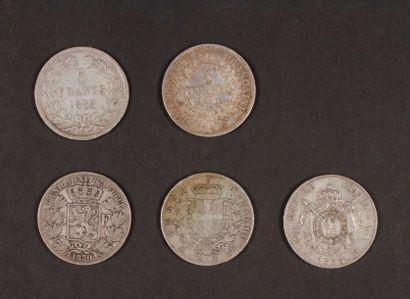 5 pièces XIXe de 5 Francs en argent, dans...