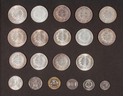 Ensemble de 15 pièces en argent, françaises;...