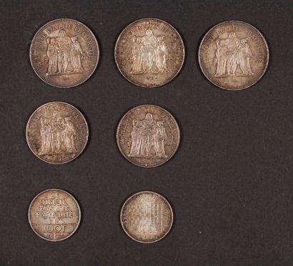 Lot de 7 pièces françaises en argent : -...