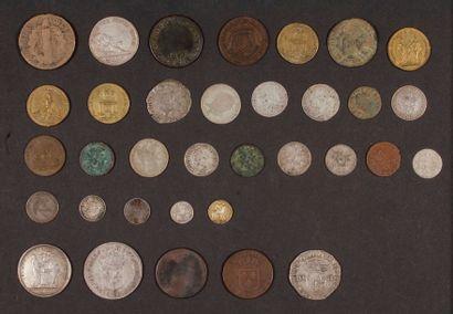 Fort lot de pièces anciennes en bronze et...