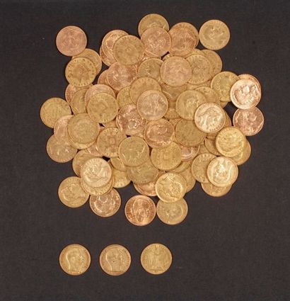 98 pièces de 20 Francs en or, dans un sachet numéroté 2017174 - 30 pièces de 20...