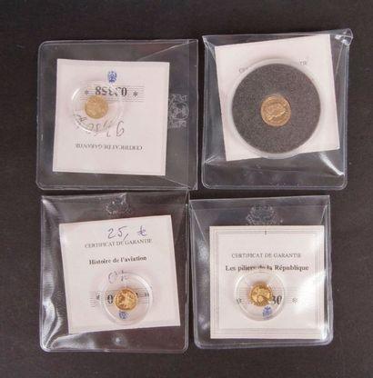 4 pièces de différents tirages en or (585/1000)...