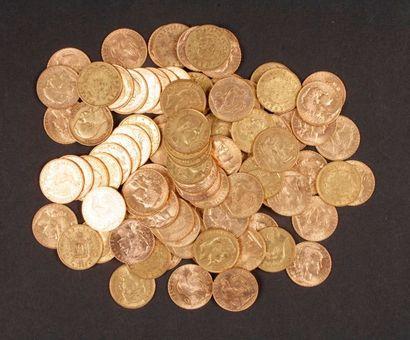 99 pièces de 20 Francs en or, dans un sachet numéroté 2017161: - 64 pièces de 20...