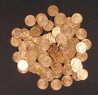 100 pièces de 20 Francs en or. Type Coq.dans un sachet numéroté 2017175.