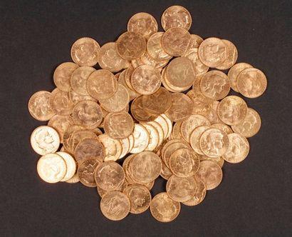 100 pièces de 20 Francs en or. Type Coq, dans un sachet numéroté 2017164
