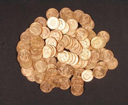 100 pièces de 20 Francs en or Type Coq, dans...
