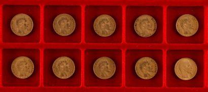 10 pièces de 20 Francs en or. Type Napoléon III non Lauré. 1853 A - 1855 A (2) -...