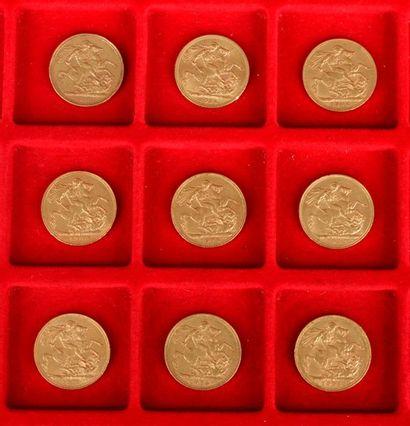 Lot de 9 Souverains en or : - 1 Souverain...