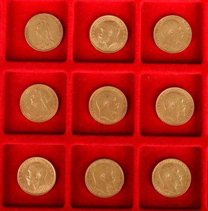 Lot de 9 Souverains en or : - 1 Souverain en or. Type Victoria Jubilée. 1892. -...