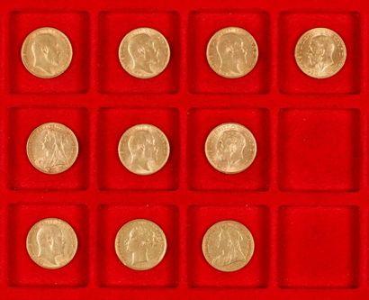 Lot de 10 Souverains en or dans un sachet numéroté 2017071 : - 1 Souverain en or....