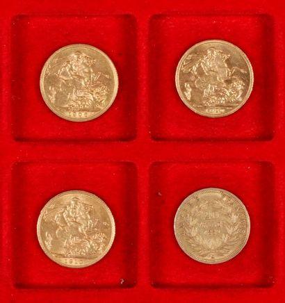 3 Souverains en or et 1 pièce de 20 Francs...