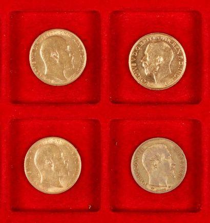 3 Souverains en or et 1 pièce de 20 Francs en or, dans un sachet numéroté 2017155:...