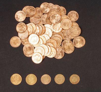 Lot de 69 pièces suisses et françaises en or, dans un sachet numéroté 2017163: -...