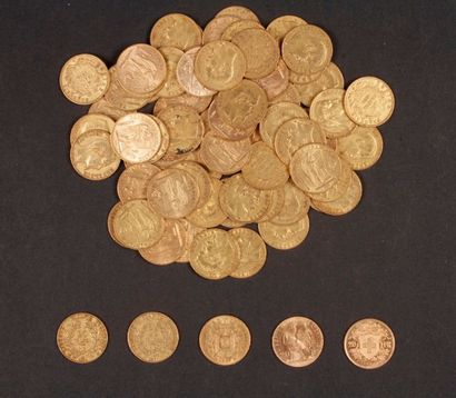 Lot de 73 pièces de 20 Francs en or + 1 pièce...