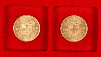2 pièces de 20 Francs suisse en or. Type...