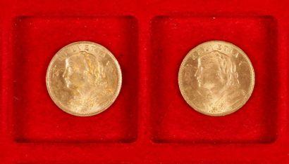 2 pièces de 20 Francs suisse en or. Type Vrénéli.1922 - 1930.