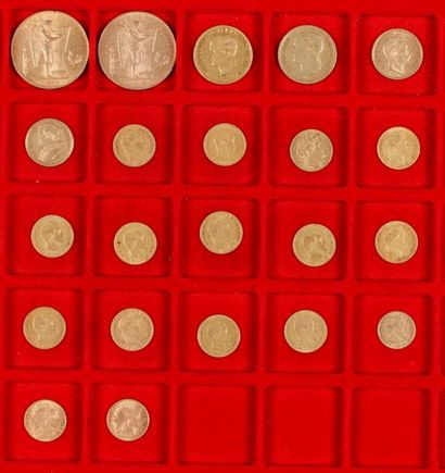 Lot de 22 pièces en or, européennes, dans un sachet numéroté 2017089: - 2 pièces...
