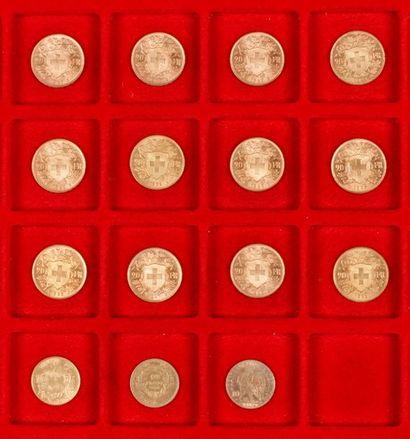 Lot de 23 pièces en or européenes, dans un...