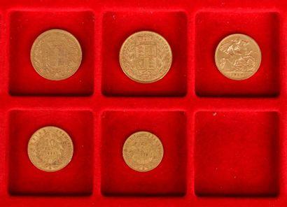 Lot de 5 pièces en or diverses, européennes...