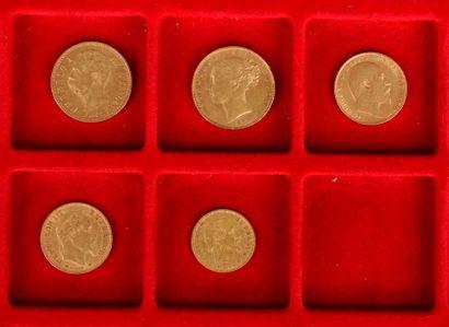 Lot de 5 pièces en or diverses, européennes : - 1 pièce de 20 Lires. Union Latine....