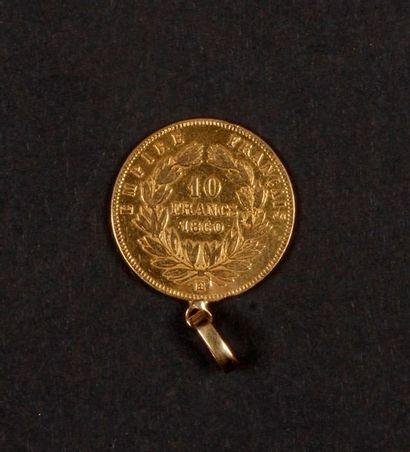 1 pièce de 10 Francs en or montée. Type Napoléon III tête nue. 1860 Poids : 3,6...