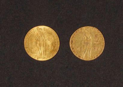 2 pièces en or des Pays-Bas. Poids : 6,8...