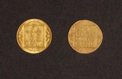 2 pièces en or des Pays-Bas. Poids : 6,8 g - 1 Ducat Pays-Bas 1849 - 1 Ducat Pays-Bas...