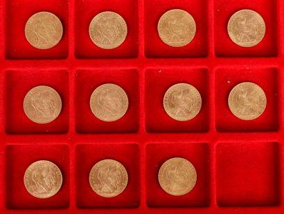Lot de 11 pièces de 20 Francs en or. Type Coq. 1905 - 1907 - 1908 (2) - 1909 (2)...