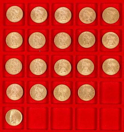 20 pièces de 10 Dollars en or, dans un sachet numéroté 2017095 : - 1 pièces de 10...