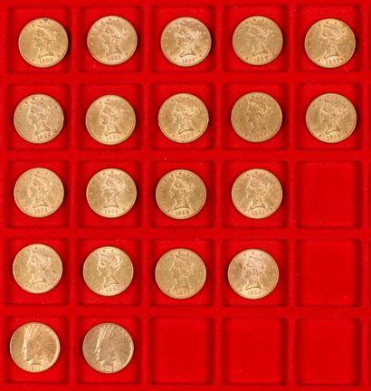20 pièces de 10 Dollars en or, dans un sachet numéroté 2017094 : - 2 pièces de 10...