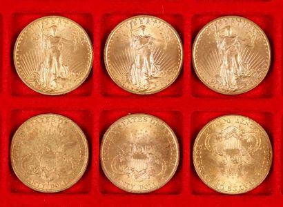6 pièces de 20 Dollars en or, dans un sachet...